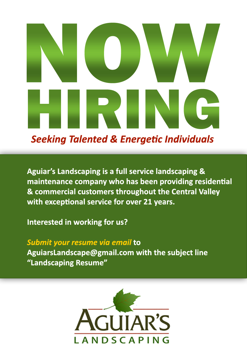 Job Openings   Aguiar  39 s Landscaping
